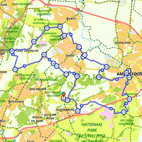 Route-fietsschoolreisje-soesterberg